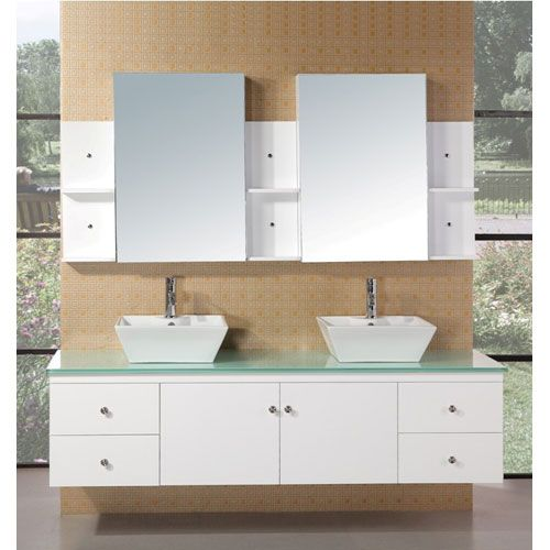 Portland 71 Inch White Double Sink Bathroom Vanity Vanities