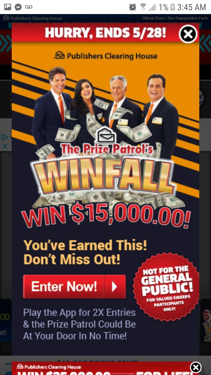 Winning money is my wish. Publisher clearing house