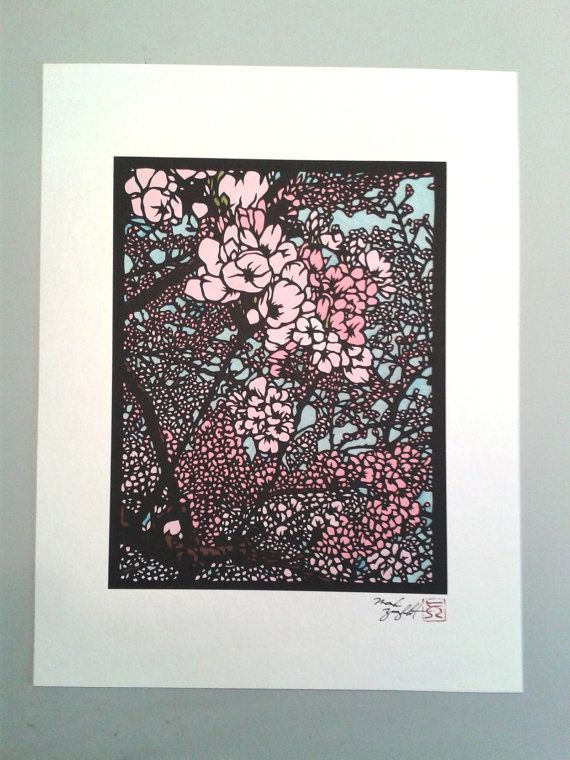 Paper cutting of Japanese Cherry Blossoms. Matted to fit 10x13 frame ...