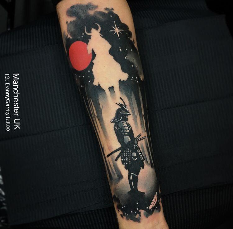 Water colour samurai inner forearm tattoo design Samurai
