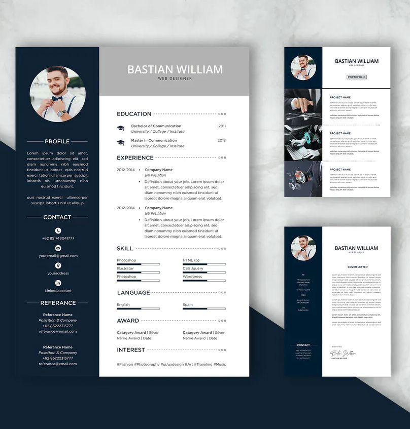 Professional Cv And Resume Template Bastian By Uicreativenet On Envato Elements Resume Template Professional Cv Resume