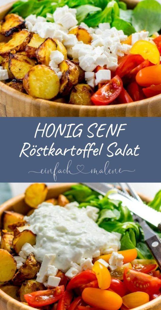 Geniales Rezept für Honig Senf Röstkartoffeln als leckerer Salat mit Feta