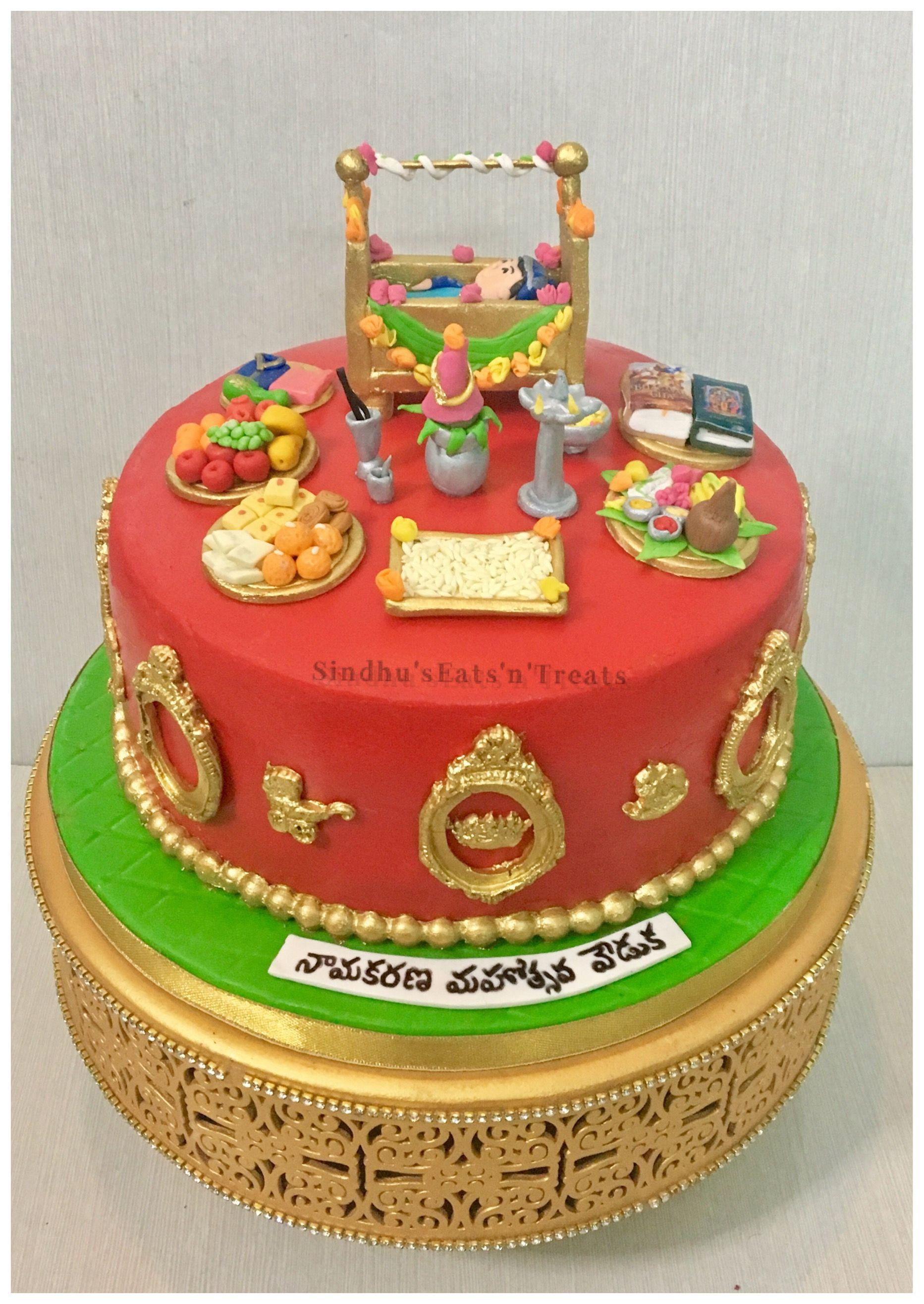 Telugu Style Naming Ceremony Cake Barasala Cake