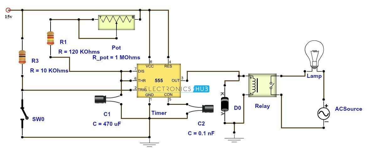 adjustable timer circuit diagram with relay output electronics rh pinterest com 555 timer circuit schematics