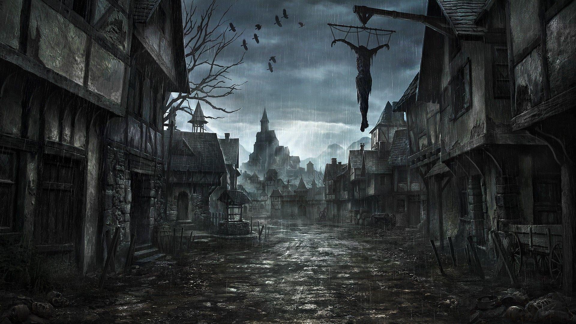 Rays Of The Sun City Clouds Rain Dark Art Paintings Dark Fantasy Art Creepy Backgrounds