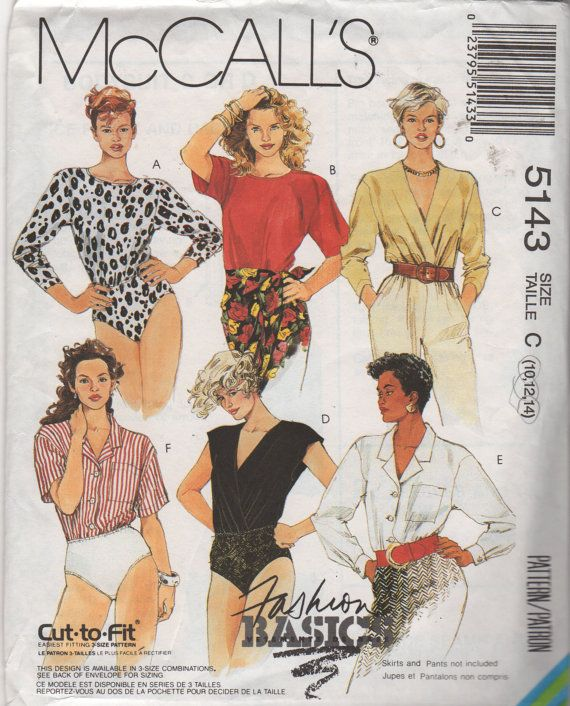 McCalls 5143 Misses Bodysuit Pattern 6 Styles for Work and Play ...