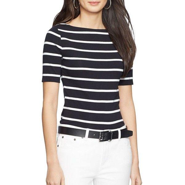 Lauren Ralph Lauren Petite Striped Stretch-Cotton T-Shirt - Tops - Women -  Macy's