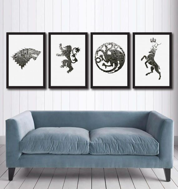 Game Of Thrones Canvas Wall Art Set Of 4 Coats Of Arms Got Etsy Game Of Thrones Canvas Canvas Wall Art Set Wall Art Sets
