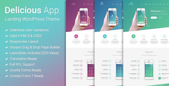 Delicious - Responsive App Landing WordPress Theme