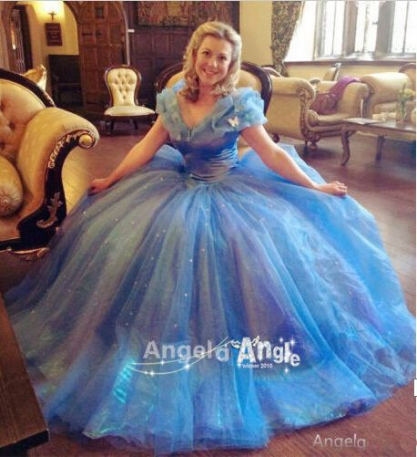 2015 Hot Movie Sandy Princess Cinderella Birthday Gift Wedding Dress Cosplay Costume Adult Elsa Anna Snow