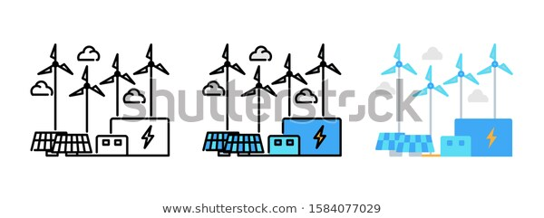 Power Plant Icon Set Isolated On Stock Vector Royalty Free 1584077029 Plant Icon Power Plant Icon Set