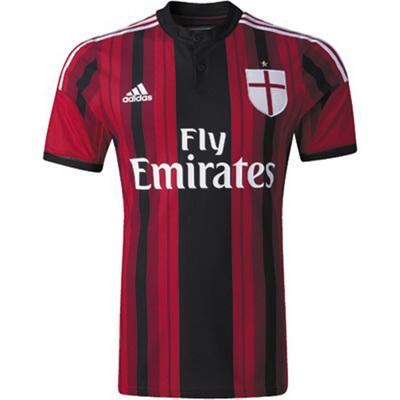 Mit Sponsor Neues AC Milan Rot Und Schwarz Adidas Home Fussball Trikot 2014  2015 Billig Großhandel