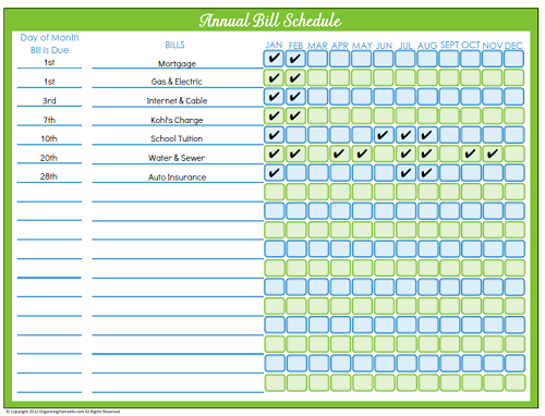 Fully Editable Annual Bill Schedule   Days To Home Management
