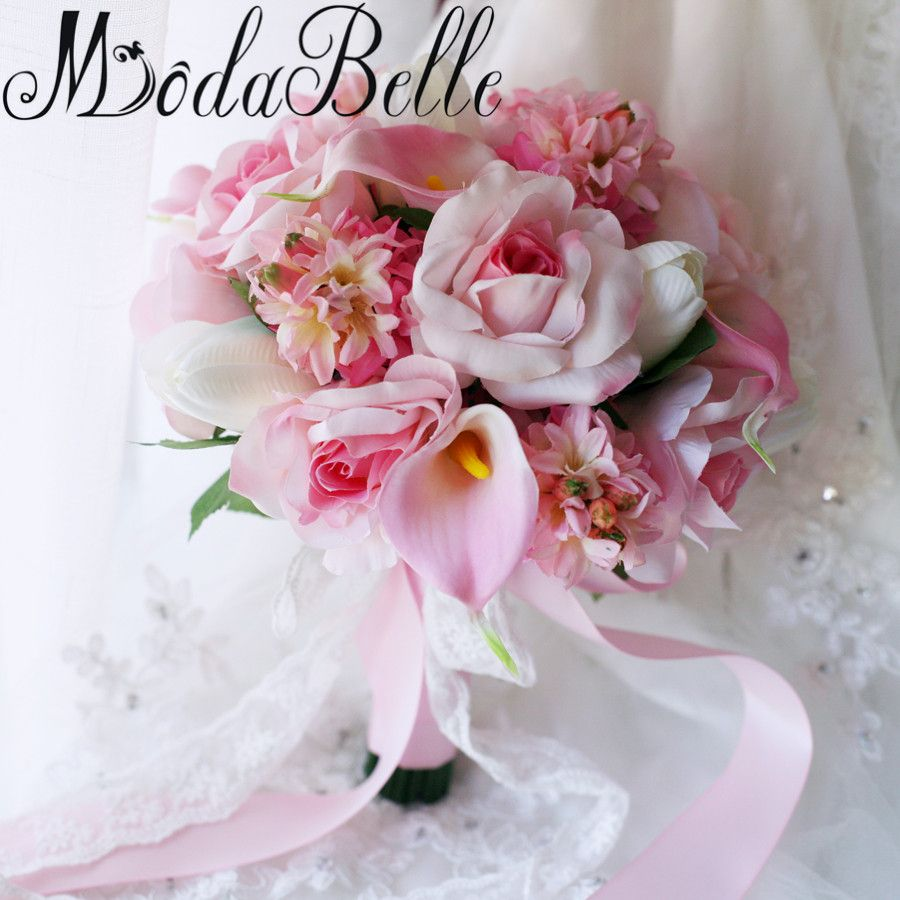 Click to Buy << modabelle Pink Wedding Bouquet 2017 Brooch Bouquet ...