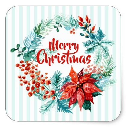 Elegant Christmas Floral Wreath Sticker Seal - merry christmas diy