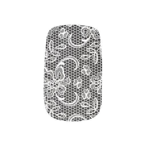 Black, white lace custom modern nail coverings. You can choose any color! #lace, #nailcoverings, #nailset, #blackwhite, #personalized http://www.zazzle.com/black_white_lace_custom_modern-256745420565453550?rf=238228936251904937