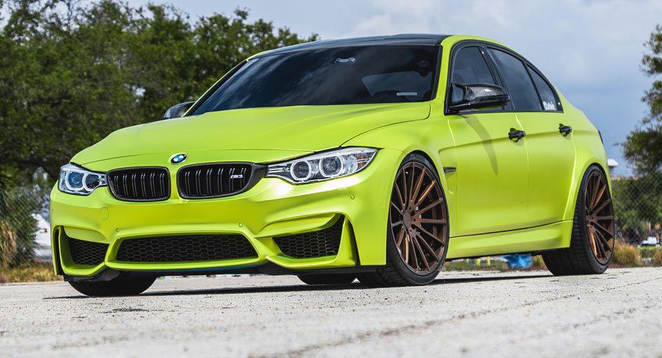 Satin Lime Green BMW M3 Strikes A Pose With Bronze Wheels