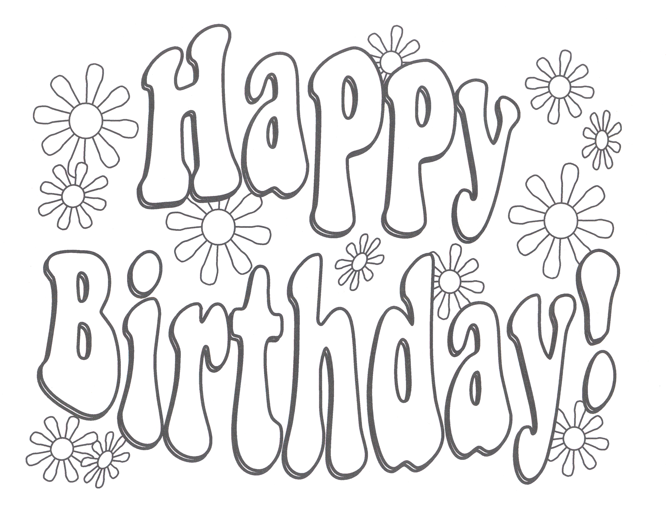 coloring pages for birthday cards  happy birthday
