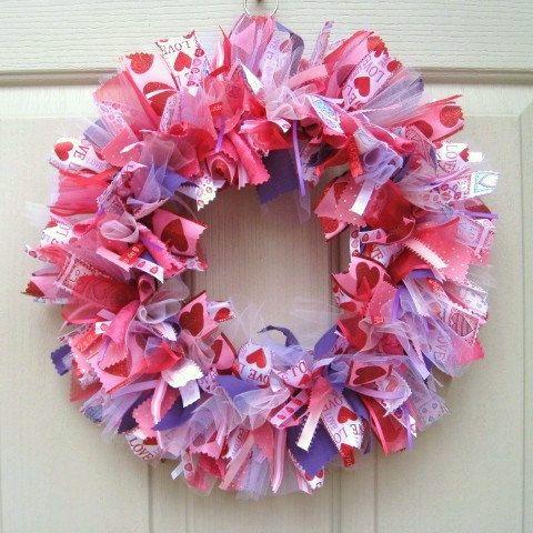 Photo of Valentine Wreath, Valentine Decoration, Ribbon Wreath, Fabric Wreath, Pink Purple Wreath, Valentines Day Door Wreath