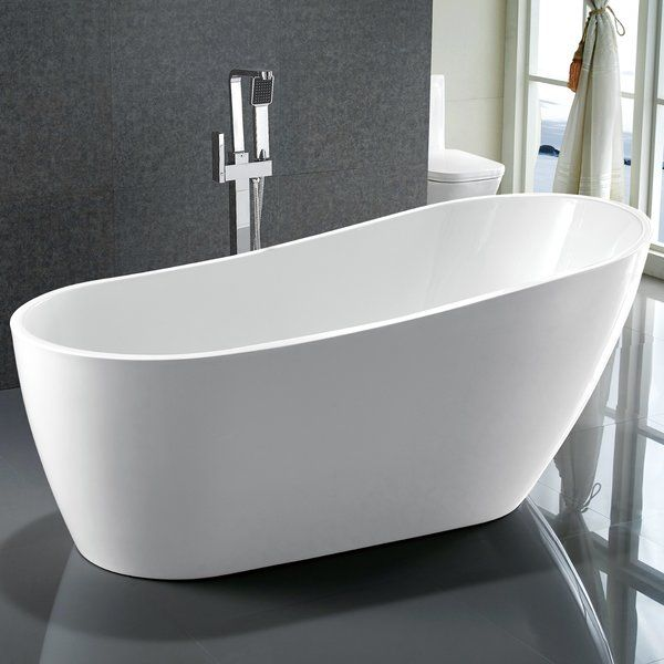 "you'll love the 67"" x 31.5"" freestanding soaking bathtub at wayfair"