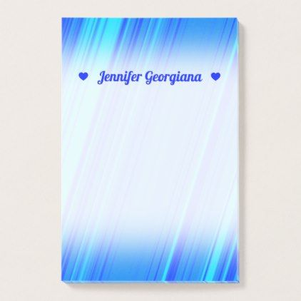 Customizable Name Blue and Cyan Lines Pattern Post-it Notes - sample notes