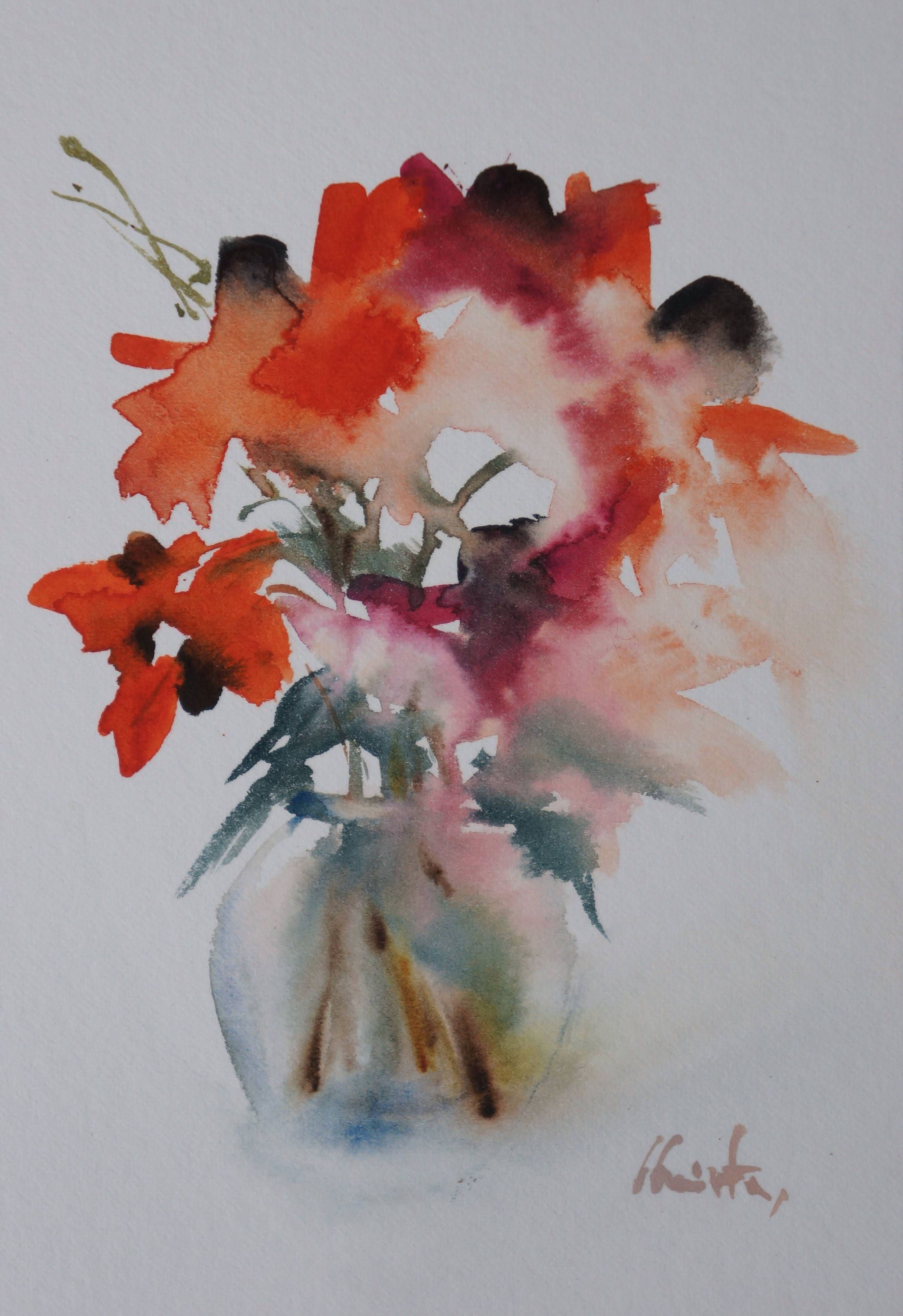 Original Watercolour Of Flowers 2 Aquarelle Fleurs Bouquet De