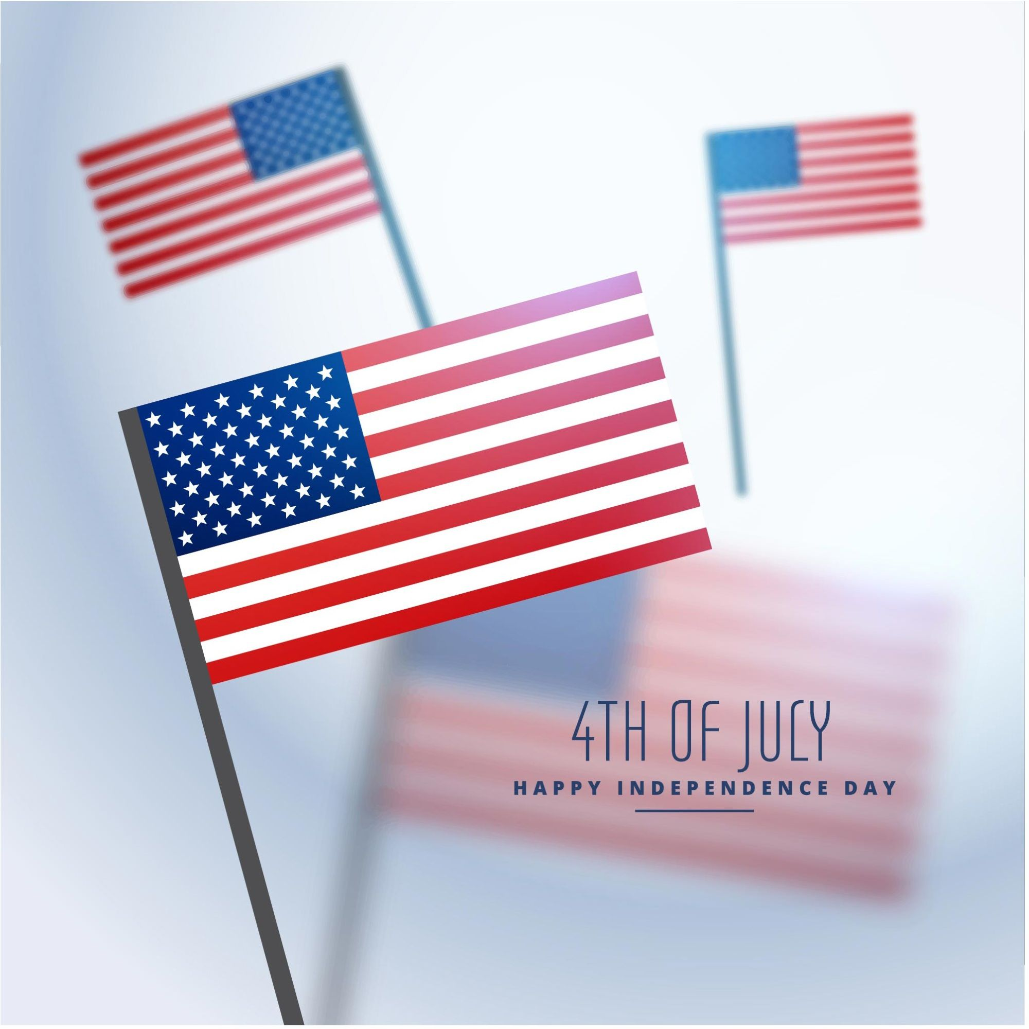 4th Of July American Independence Day Flags Vector