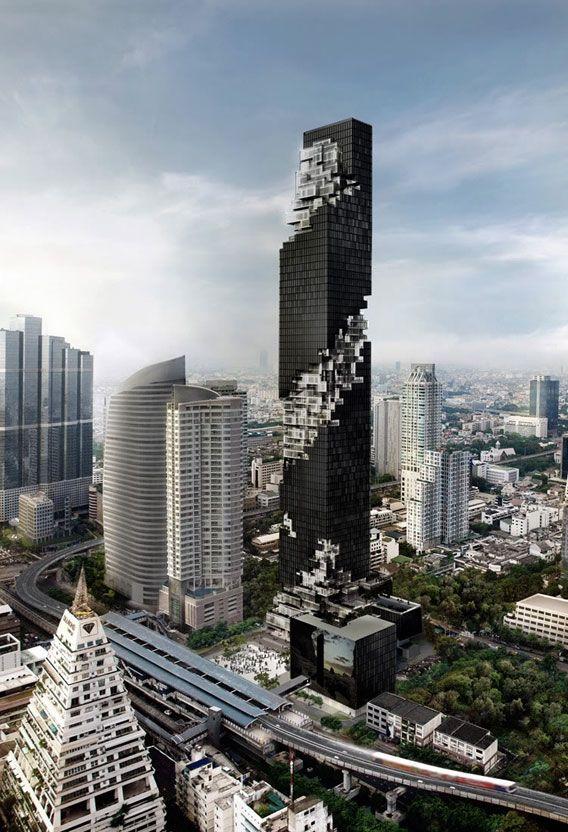 Maha Nakhon-The Ritz Carlton Residences & Edition Hotel, Bangkok, Thailand; 313.4 m, 77 fl; under contruction; Arch : Ole Scheeren / OMA