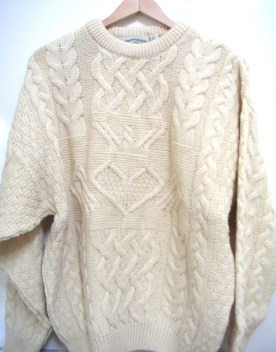 Vintage authentic irish wool sweater fullover aran crafts for Aran crafts fisherman sweater