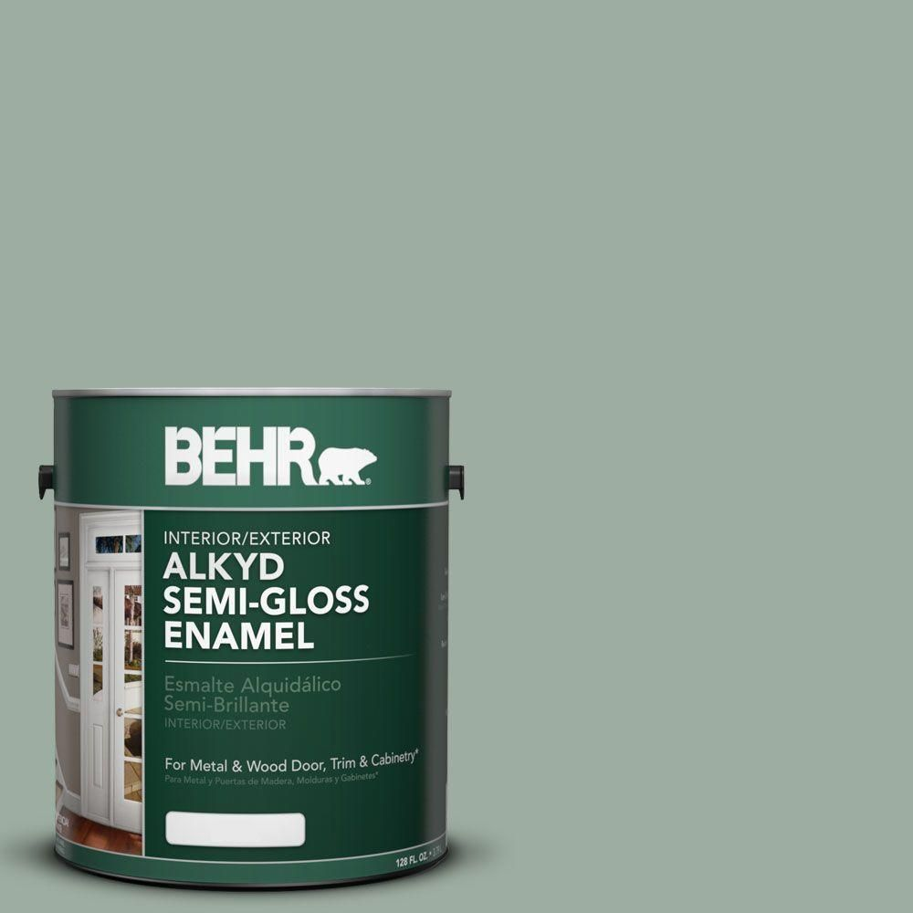 Behr 1 Gal Ae 39 Danger Isle Urethane Alkyd Semi Gloss Enamel Interior Exterior Paint 390001 The Home Depot Painting Trim And