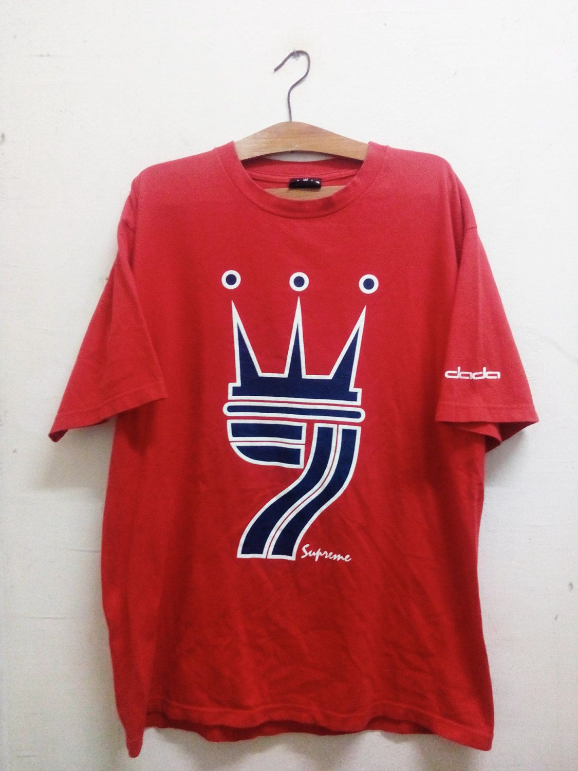 buy popular 3e0a8 11271 Vintage 90 s Hip Hop Clothing Dada Supreme by Mike Cherry Big Logo Designs  Spell Out Celebrity Fashion Red Color Sz L by Psychovault on Etsy