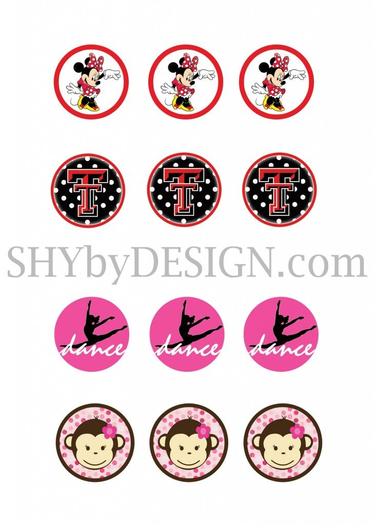 Minnie mouse texas tech dance monkey bottle cap printable designs