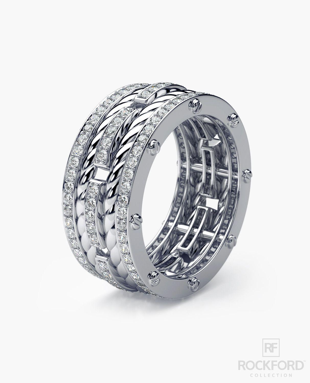 ROPES Mens Gold Wedding Band with Diamonds Diamond