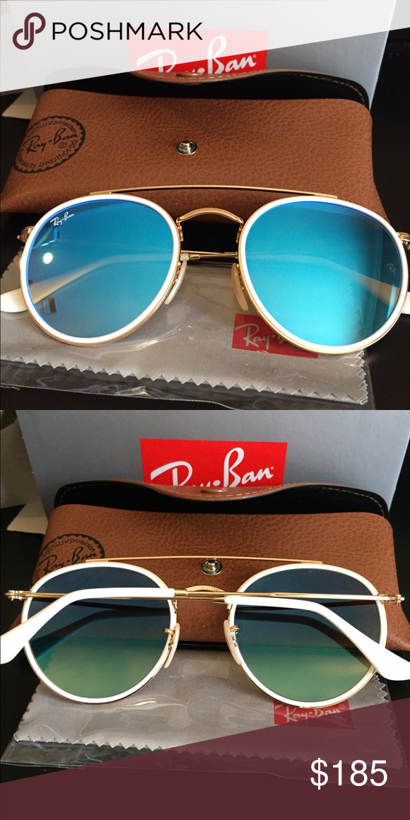 1f0149ec702c NEW Ray Bans Ray Ban round double bridge white rim with gold - and blue  gradient flash lens. NEW IN BOX Ray-Ban Accessories Glasses