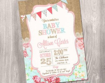 Perfect Shabby Chic Baby Shower Invitation, Printable Invitation, Girl Baby Shower,  Floral Baby Shower, Vintage Baby Shower, Shower Invitation, Pink