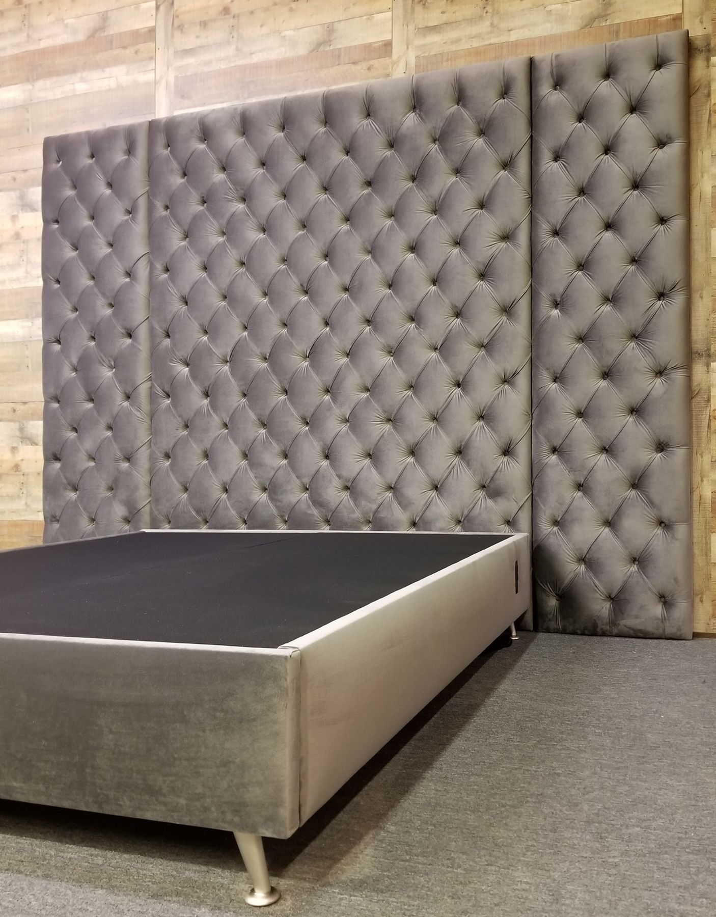 Charcoal Gray Velvet Deep Button Tufted Wall Panel Headboard With