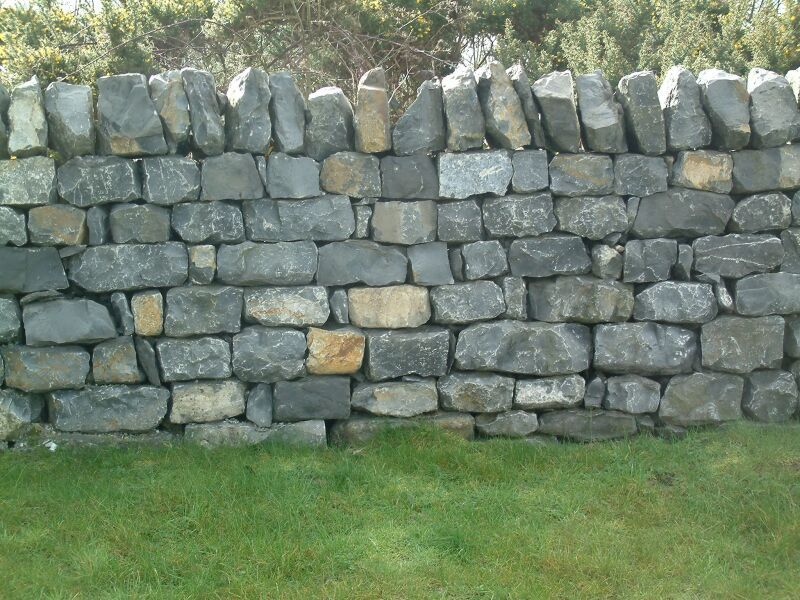 Example of a rough wide topped cope on a stone wall. The Biltmore's was of dark stone and the tops alternated (like a rough merlin and embrace on castles)