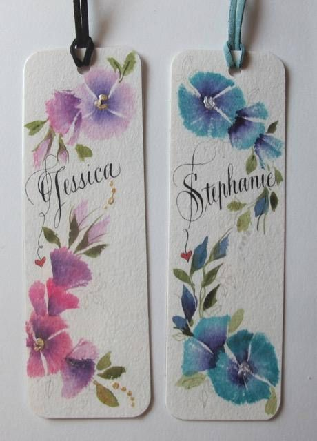 Hand Painted Bookmarks Personalized Bookmarks Calligraphy