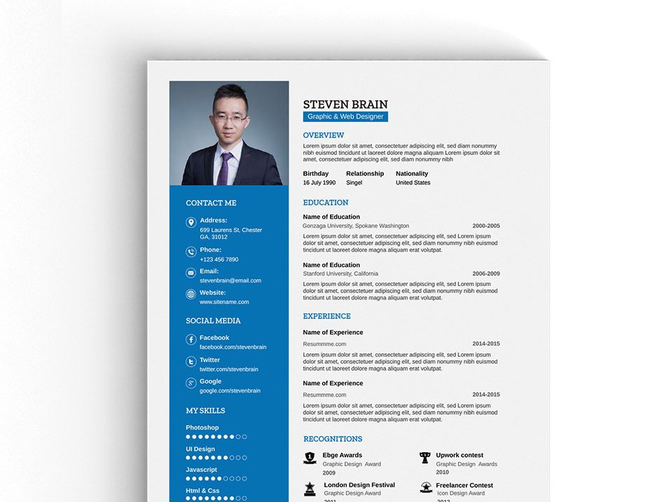 Free A Vector Professional Resume Template  Free Resume