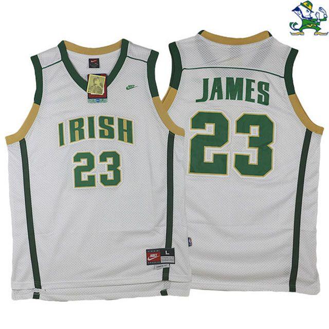33773d3df LeBron James Fighting Irish High School  23 White Jersey ...