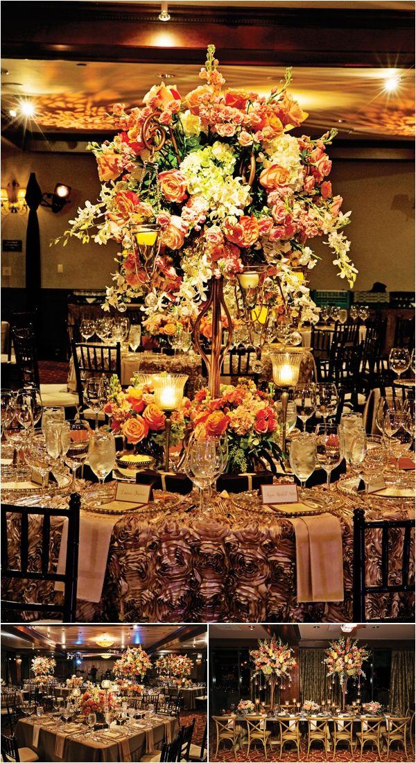 Coral Pink Gold Wedding Reception Decor Floral Centerpiece