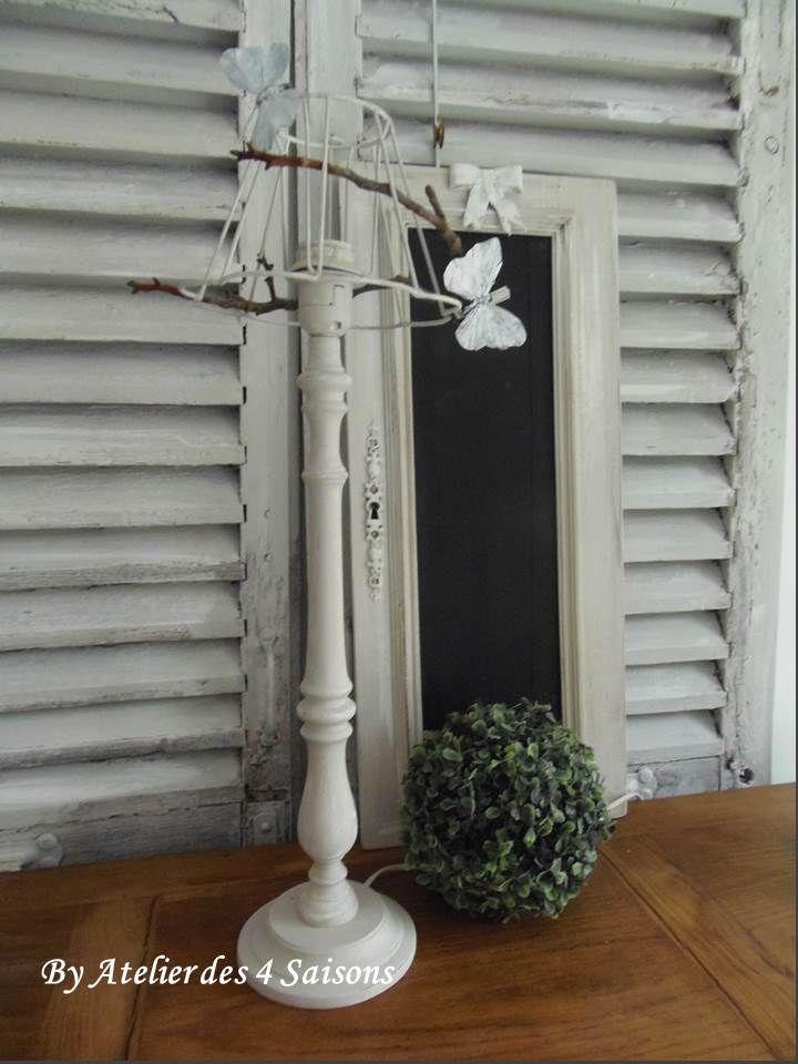 lampe papillons patin e gris perle blanc poudr par l 39 atelierdes4saisons une d co bucolique et. Black Bedroom Furniture Sets. Home Design Ideas