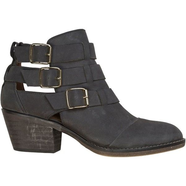 REPORT FOOTWEAR Report ackley boot (720 DKK) ❤ liked on Polyvore featuring shoes, boots, ankle booties, botas, zapatos, ankle boots, black cut-out booties, thick heel booties, cut out booties and black boots