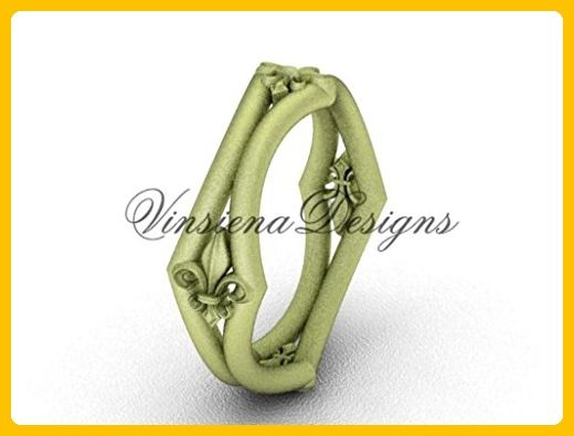 14kt yellow gold Fleur de Lis, matte finish wedding band VD10031 - Wedding and engagement rings (*Amazon Partner-Link)