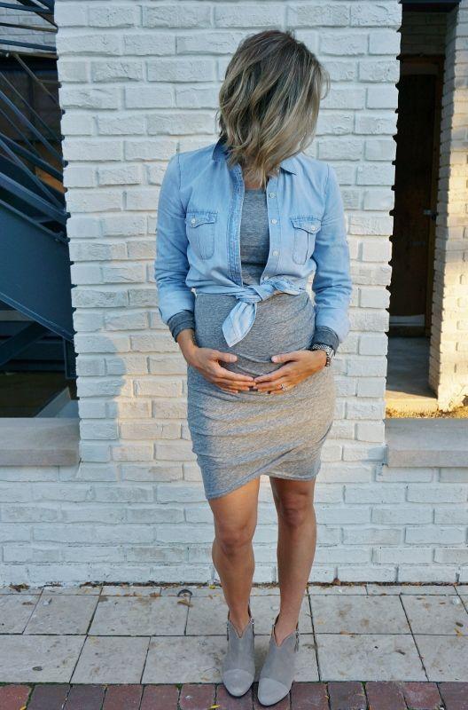 #schwangerschaft die Beule + ein kuscheliges T-Shirt-Kleid – cooler Stil #springoutfits die Beule … – Schwangerschaft