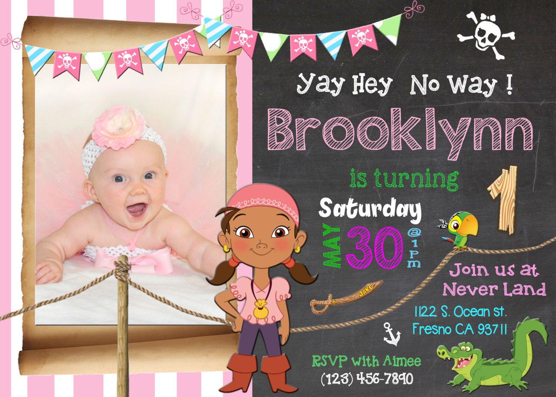 Izzy Jake and the Neverland Pirates Birthday Party Invitation Invite ...
