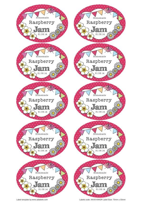 Great British Summer Raspberry Jam Jar Labels. You can