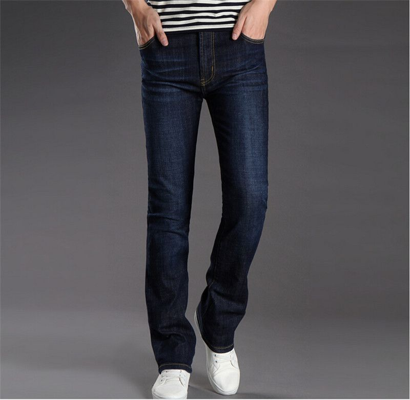 Mens Business Casual Jeans Male Mid Waist Elastic Slim Boot Cut ...