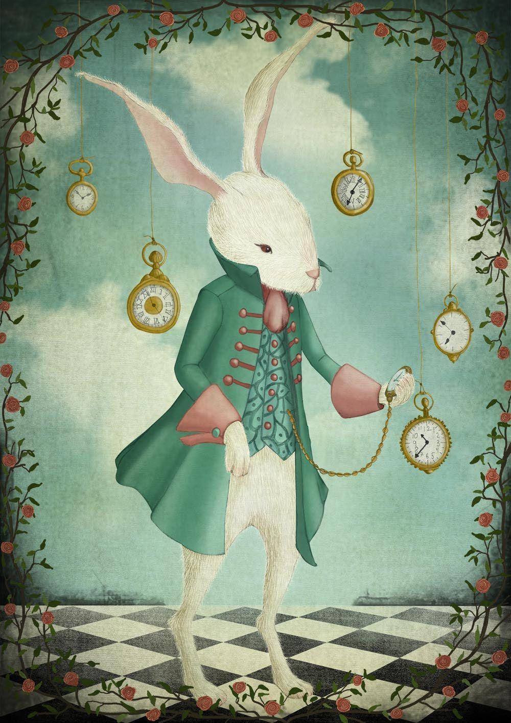 "The white rabbit - Illustration print (size 7"" x 5"") by majalin on Etsy"