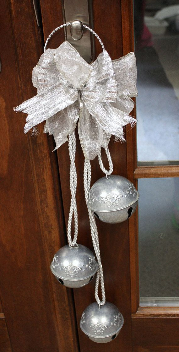 TWO Silver Bells Decorations Holiday Bells Door Knob Hangers Custom Silver Bells Decorations
